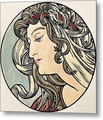 Head Of A Woman Metal Print by Alphonse Marie Mucha
