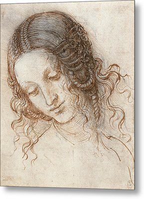 Head Of Leda Metal Print by Leonardo da Vinci