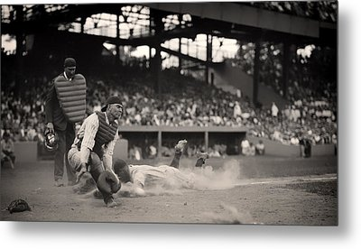 Headfirst Slide By Lou Gehrig Metal Print by Mountain Dreams