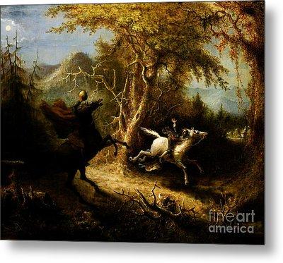Headless Horseman Pursuing Ichabod Crane Metal Print by Pg Reproductions