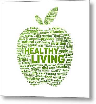 Healthy Living Apple Illustration Metal Print by Aged Pixel