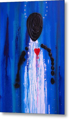 Heart And Soul - Angel Art Blue Painting Metal Print by Sharon Cummings