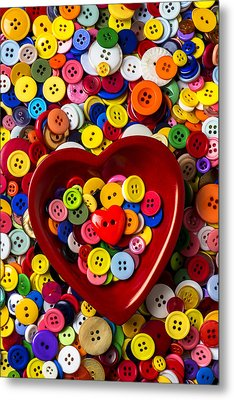 Heart Bowl With Buttons Metal Print by Garry Gay