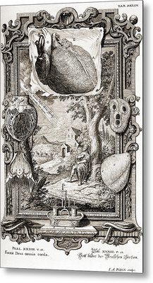 Heart Illustrated As Pumping Machine Metal Print by Wellcome Images