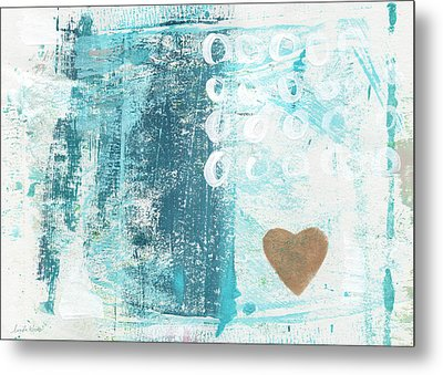 Heart In The Sand- Abstract Art Metal Print by Linda Woods