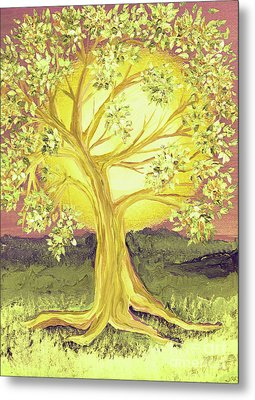 Heart Of Gold Tree By Jrr Metal Print by First Star Art