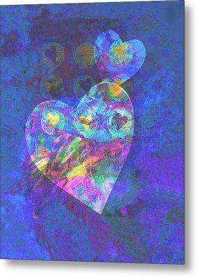 Hearts On Blue Metal Print by Ann Powell