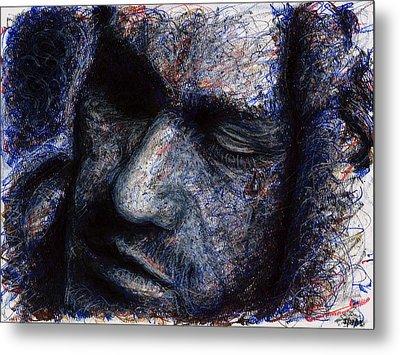 Heath Ledger - Blue Metal Print by Rachel Scott