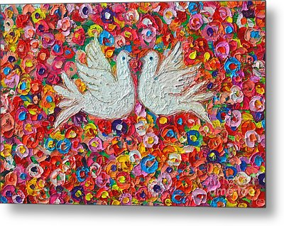 Heavenly Love - Gentle White Doves Metal Print by Ana Maria Edulescu