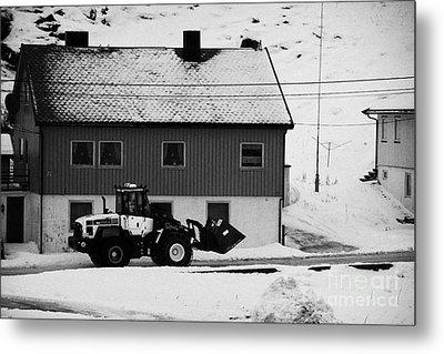 Heavy Duty Loader Carrying Grit And Stones For Winter Road Preparation Havoysund Finnmark Norway  Metal Print by Joe Fox