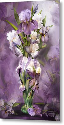 Heirloom Iris In Iris Vase Metal Print by Carol Cavalaris