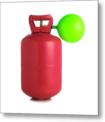 Helium Gas Cylinder And Balloon Metal Print by Science Photo Library