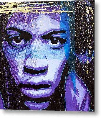 Hendrix - Eyes Of Neptune - Alternate Metal Print by Bobby Zeik