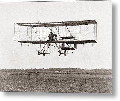 Henri Farman Winning The Grand Prix Of Two Thousand Pounds For The Longest Flight Of 112 Miles Metal Print by Bridgeman Images
