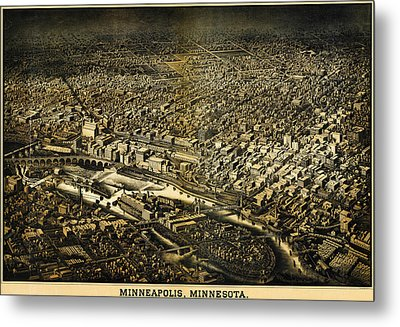 Herancourts Birdseye Of Minneapolis 1885 Metal Print by MotionAge Designs