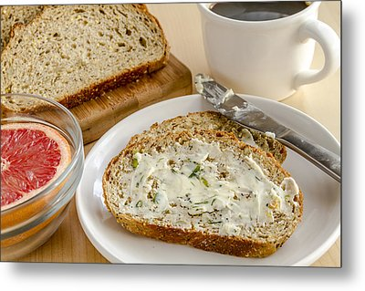 Herb Butter And Whole Grain Bread Metal Print by Teri Virbickis