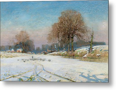 Herding Sheep In Wintertime Metal Print by Frank Hind