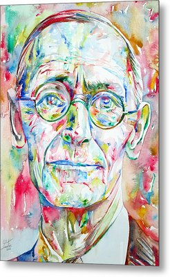 Hermann Hesse Watercolor Portrait.3 Metal Print by Fabrizio Cassetta