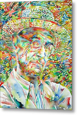Hermann Hesse With Hat Watercolor Portrait Metal Print by Fabrizio Cassetta