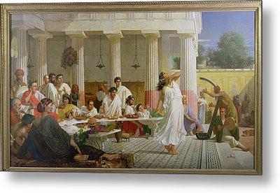Herods Birthday Feast, 1868 Oil On Canvas Metal Print by Edward Armitage