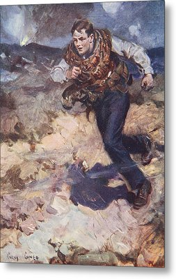 Heroic Middy Carrying Ammunition Metal Print by Cyrus Cuneo