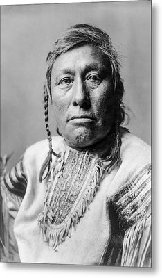 Hidatsa Indian Man Circa 1908 Metal Print by Aged Pixel