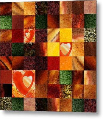 Hidden Hearts Squared Abstract Design Metal Print by Irina Sztukowski
