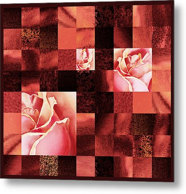 Hidden Roses Squared  Metal Print by Irina Sztukowski