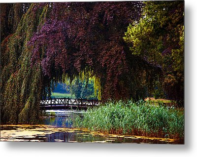 Hidden Shadow Bridge At The Pond. Park Of The De Haar Castle Metal Print by Jenny Rainbow