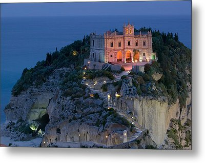 High Angle View Of A Church Lit Metal Print by Panoramic Images