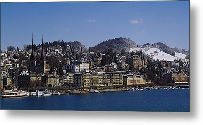 High Angle View Of A City, Lucerne Metal Print by Panoramic Images