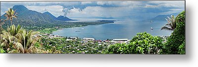 High Angle View Of A Town On The Coast Metal Print by Panoramic Images