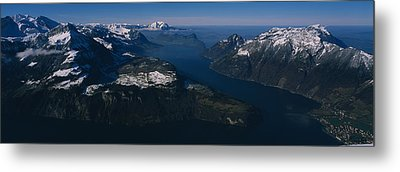 High Angle View Of Mountains, Lake Metal Print by Panoramic Images