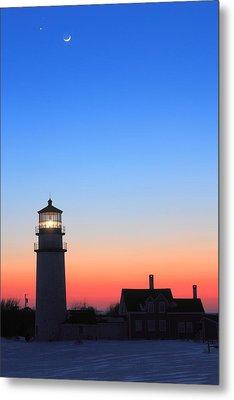 Highland Lighthouse And Moon Venus Mars Conjunction Metal Print by John Burk