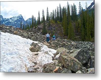 Hiking Through Rock Fields On Consolation Lakes Trail In Banff Np-ab Metal Print by Ruth Hager