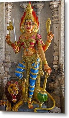 Hindu Goddess Durga On Lion Metal Print by David Gn