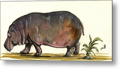 Hippo Metal Print by Juan  Bosco