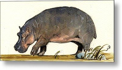 Hippo Walk Metal Print by Juan  Bosco