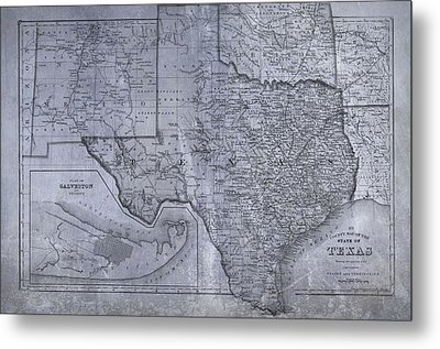 Historic Texas Map Metal Print by Dan Sproul