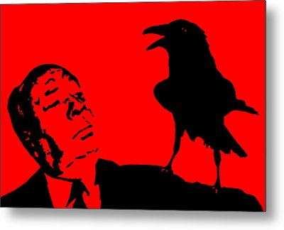 Hitchcock In Red Metal Print by Jera Sky