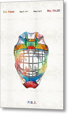 Hockey Art - Goalie Mask Patent - Sharon Cummings Metal Print by Sharon Cummings