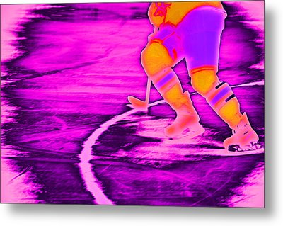 Hockey Freeze Metal Print by Karol Livote