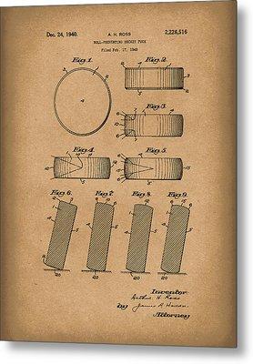 Hockey Puck Patent Art Brown Metal Print by Prior Art Design