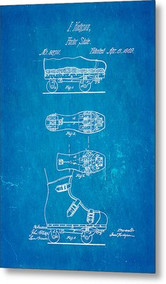 Hodgson Roller Skate Patent Art 1869 Blueprint Metal Print by Ian Monk