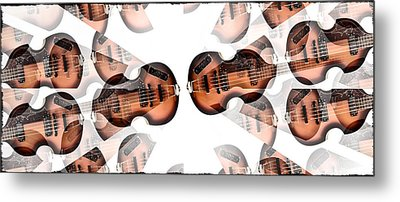 Hofner Bass Abstract Metal Print by Bill Cannon