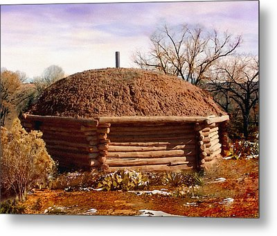 Hogan Monument Valley Winter Painting Metal Print by Bob and Nadine Johnston