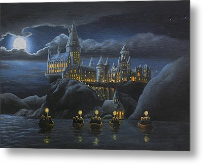 Hogwarts At Night Metal Print by Karen Coombes