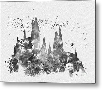 Hogwarts Black And White Metal Print by Rebecca Jenkins