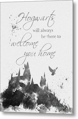 Hogwarts Quote Black And White Metal Print by Rebecca Jenkins