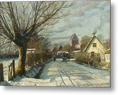 Hoje Taastrup Church Outside Copenhagen Metal Print by Peder Monsted